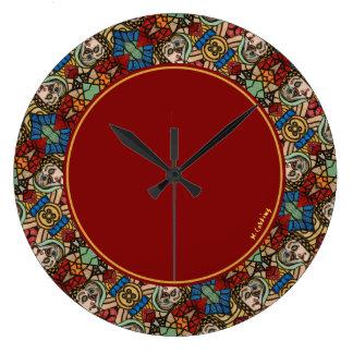 Reloj Redondo Grande Modelo abstracto moderno colorido de las caras
