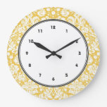 Reloj Redondo Grande Modelo amarillo del damasco