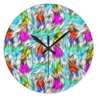 Reloj Redondo Grande Modelo blanco colorido de la piel del leopardo
