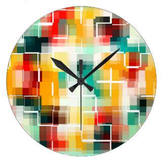Reloj Redondo Grande Modelo de mosaico - blanco amarillo verde rojo