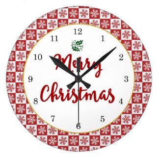 Reloj Redondo Grande Modelo del copo de nieve del navidad rojo y blanco