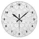 Reloj Redondo Grande Modelo del damasco de los gris plateados