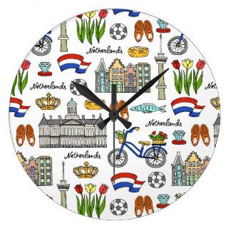 Reloj Redondo Grande Modelo del Doodle de Netherland