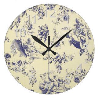 Reloj Redondo Grande Modelo francés azul de la querube del país de