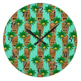 Reloj Redondo Grande Modelo hawaiano de la repetición de Tiki