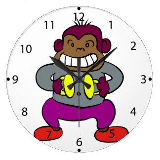 Reloj Redondo Grande Mono retro con el juguete de los platillos