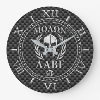 Reloj Redondo Grande Monograma espartano de la armadura del estilo del