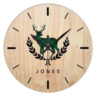 Reloj Redondo Grande Monograma verde del macho de la tela escocesa del