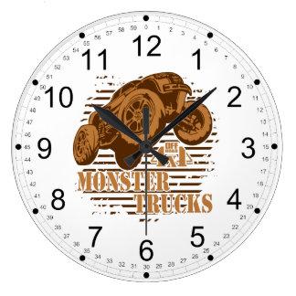 Reloj Redondo Grande Monster truck 4x4 del camino