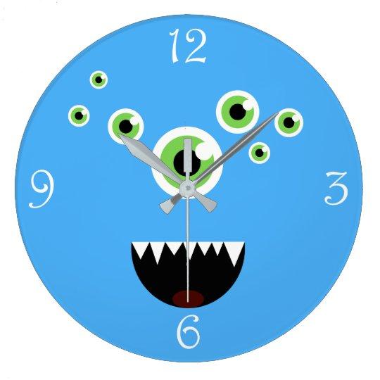 Reloj Redondo Grande Monstruo azul lindo loco divertido único