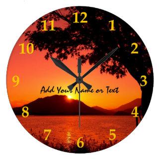 Reloj Redondo Grande Montaña hermosa del lago sunset del amarillo anara