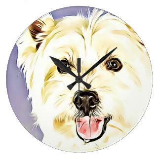 Reloj Redondo Grande Montaña Terrier blanco del oeste, Westie, perro,