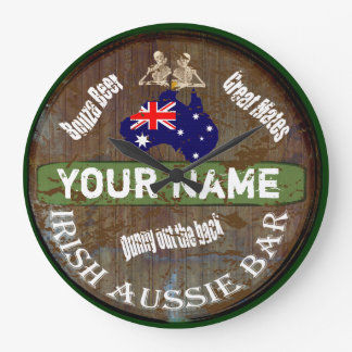 Reloj Redondo Grande Muestra australiana irlandesa personalizada del