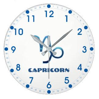 Reloj Redondo Grande Muestra azul del zodiaco del Capricornio