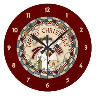Reloj Redondo Grande Muñecos de nieve remilgados de las Felices Navidad