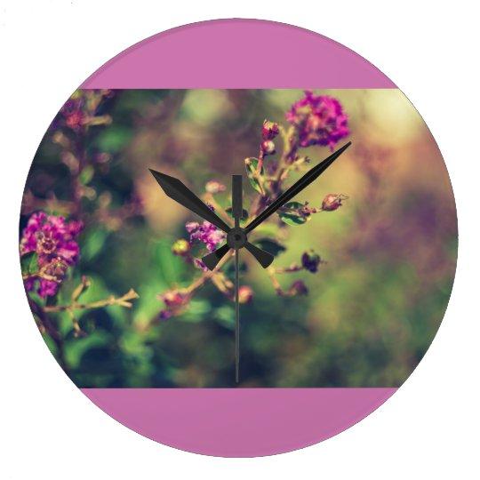 Reloj Redondo Grande Naturaleza púrpura del verano
