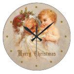 Reloj Redondo Grande Navidad del padre del vintage con el niño