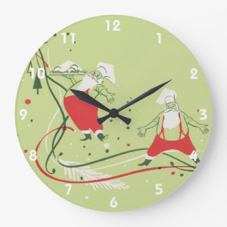 Reloj Redondo Grande Navidad del vintage, cocinero de Papá Noel con la