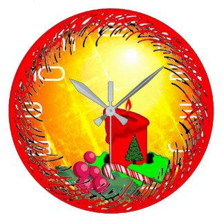 Reloj Redondo Grande Navidad pasado de moda