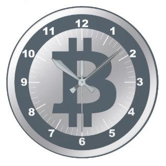 Reloj Redondo Grande Negocio de los gráficos del logotipo de Bitcoin,