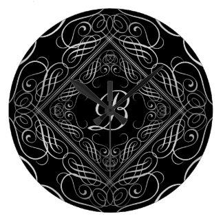 Reloj Redondo Grande Negro afiligranado de Scrollwork de la mirada