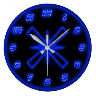Reloj Redondo Grande Neón azul (efecto)