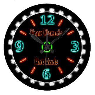 Reloj Redondo Grande Neón fresco de la rueda falso (personalizado)
