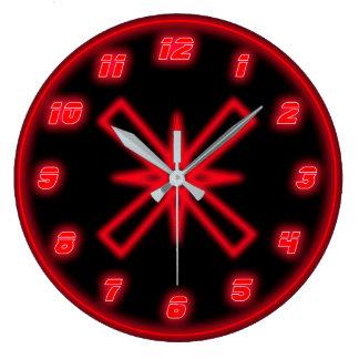 Reloj Redondo Grande Neón rojo (efecto)