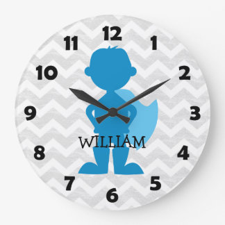 Reloj Redondo Grande Niños grises personalizados azul de Chevron del
