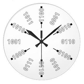 Reloj Redondo Grande Números binarios