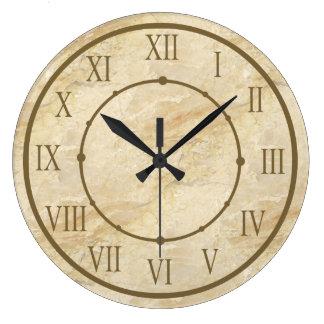 Reloj Redondo Grande Números romanos de la mirada de piedra con clase