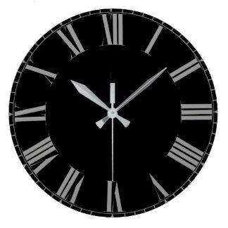 Reloj Redondo Grande Números romanos negros simples