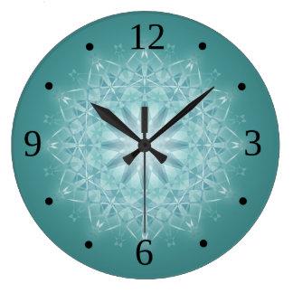 Reloj Redondo Grande Números verde azulados de la mandala de la