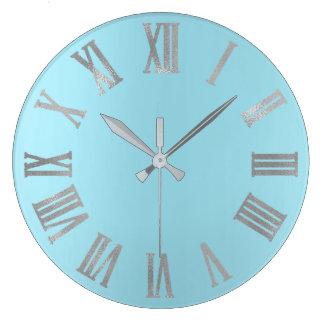 Reloj Redondo Grande Océano azul Numers romano metálico mínimo gris