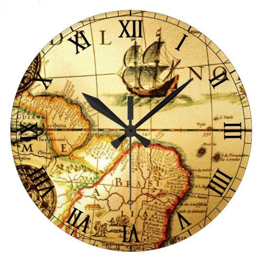 Reloj Redondo Grande Old Map