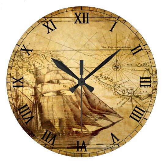 Reloj Redondo Grande Old Map Navigation