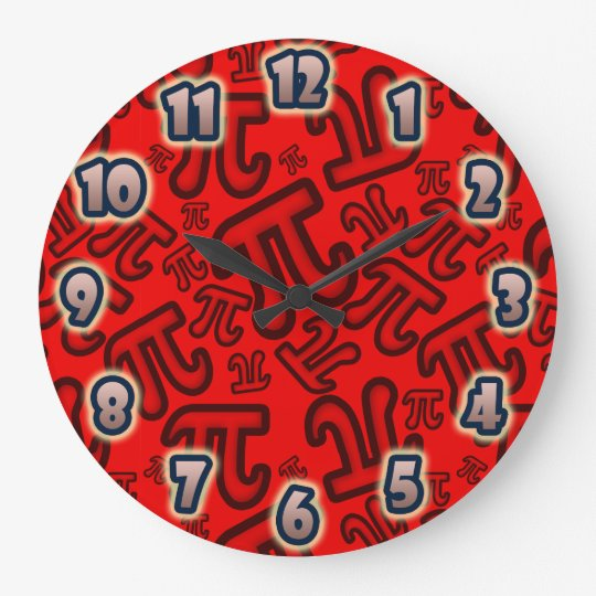 Reloj Redondo Grande ORIGINAL Crazy Pi Numbers - Red CLOCK