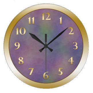 Reloj Redondo Grande Oro metálico verde magenta púrpura