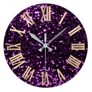 Reloj Redondo Grande Oro púrpura del ciruelo de los números romanos