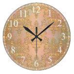 Reloj Redondo Grande Oro sobre Damasco de encaje de estilo antiguo dora