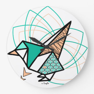 Reloj Redondo Grande Pájaro origami