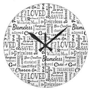Reloj Redondo Grande Palabras cristianas inestimables de la afirmación