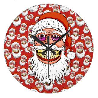 Reloj Redondo Grande Papá Noel con sonrisa de las Felices Navidad