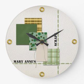 Reloj Redondo Grande Papel, etiqueta, cordón, costura, y remaches del