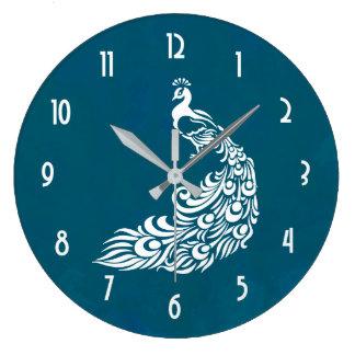 Reloj Redondo Grande Pavo real blanco en diseño elegante intrépido del