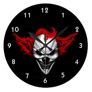 Reloj Redondo Grande Pelo malvado feliz del rojo del payaso