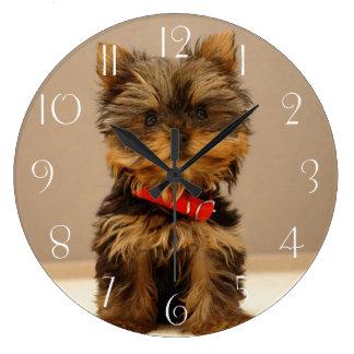 Reloj Redondo Grande Perro de perrito de Yorkshire Terrier