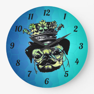 Reloj Redondo Grande Perro elegante de Pog del perrito - ilustracion
