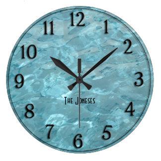 Reloj Redondo Grande Personalice: Agua de la piscina - extracto del