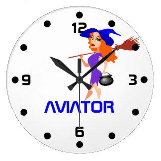 Reloj Redondo Grande Personalizable bonito del aviador de la bruja